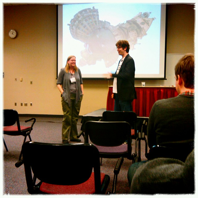 @bertine being quizzed on html tags at @teleject's session #minnewebcon