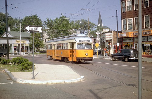 Boston MTA Wartime PCC car 3111 at Waverly Square in 1958 before trackless conversion