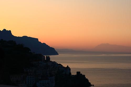 sea italy cliff mountain mountains sunrise landscape town italia campania amalficoast cliffs amalfi headland canonef50mmf14usm costieraamalfitana saracentower