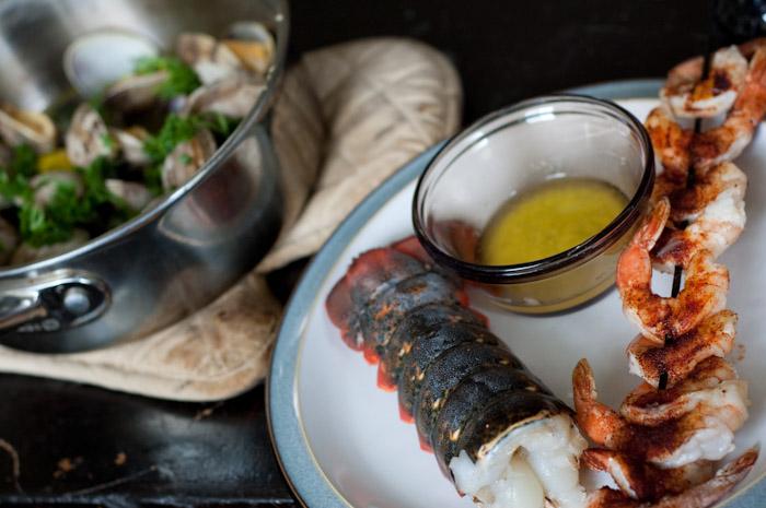 Clams, lobster, prawns