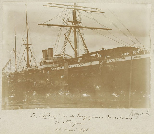 The French passenger ship S.S. Sydney of Messageries Maritimes Co. in Saigon, Vietnam - 1893