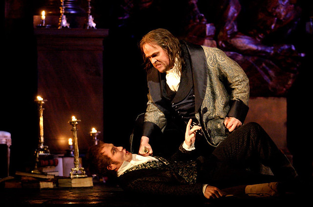 Hubert Francis as Spoletta, Jha Uusitalo as Scarpia in Tosca © Catherine Ashmore/ROH 2011