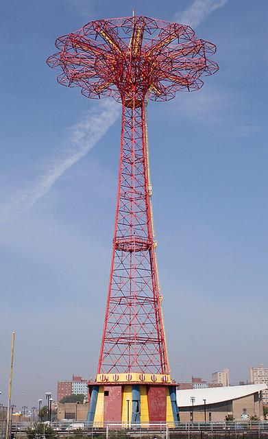 PARACHUTE JUMP, LANDMARKED, AMUSEMENT RIDE, STEEPLECHASE PARK, (Coney Island), New York, USA. June, 2011