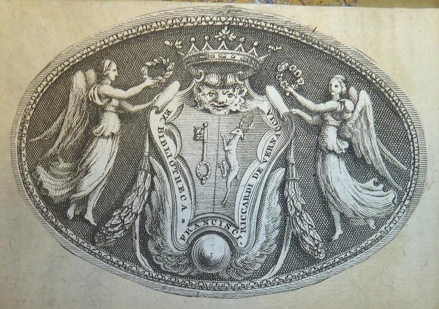 Engraved bookplate of marchese francesco riccardi 1648 for Francesco marchesi