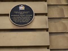 Photo of Arthur Wellesley, George Cadbury Junior, and Liverpool Road railway station, Manchester black plaque