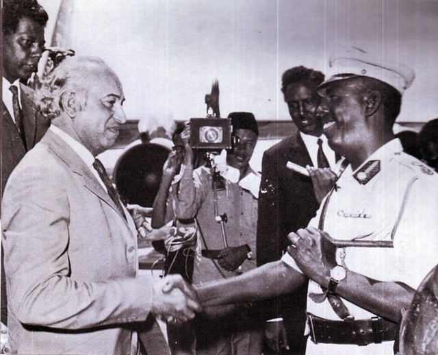 Bhutto is received by President Said Barre of Somalia