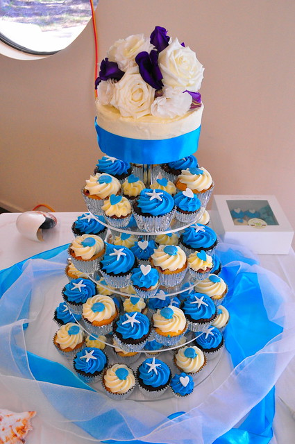 Bright turquoise wedding cupcakes A mix of double choc mud white choc mud