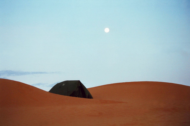 Camping in the middle of the desert in Tunesia, Africa.