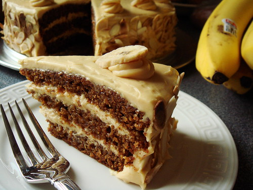 Butterscotch Banana Cake with Caramel Cream Cheese Frosting