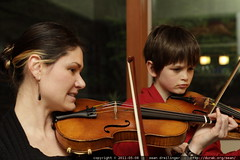 mother's day violin practice with a reluctant pupil