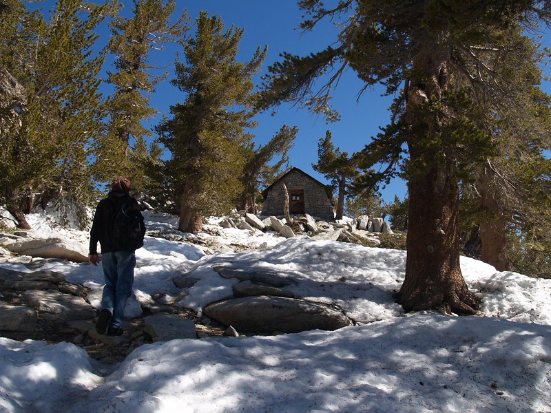 Crossing the patchy snow on the way up to the San Jacinto Peak Summit Hut.
