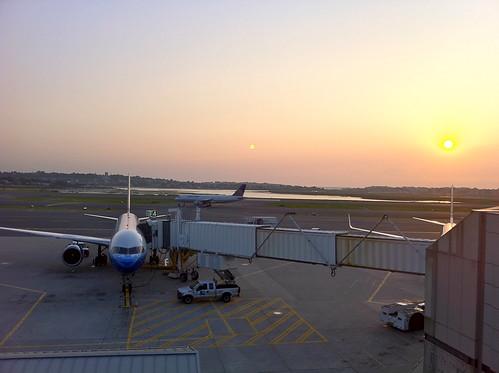 Sunrise over Logan Airport