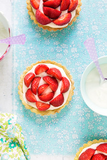 Strawberry tartlets with mascarpone cream