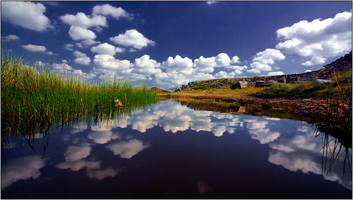sky mountains grass southwales wales clouds photoshop reflections puddle july wideangle bigsky canon5d bracken quarry gitzo 2011 1740mml penderyn opobs michaeljstokesawpf cefncadlan