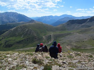 Overlooking Mountain Boy Park. La Plata Peak is the tall mountain to the left of center. On UN 12812 above Independence Pass, White River National Forest and San Isabel National Forest, Colorado