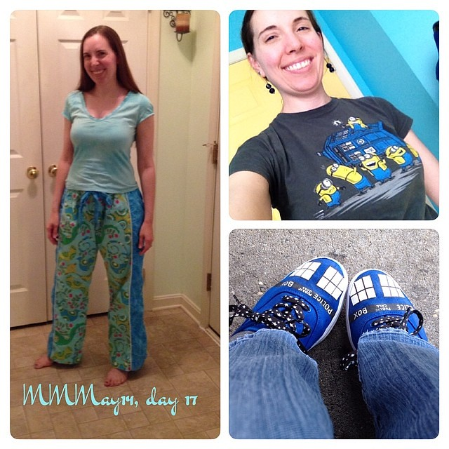 No full outfit today, I blame work. Spent the afternoon in this t and painted TARDIS shoes. Also me-made Tofino pj pants. #mmmay14