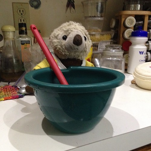 While my daughter is at school, her otter is hard at work.