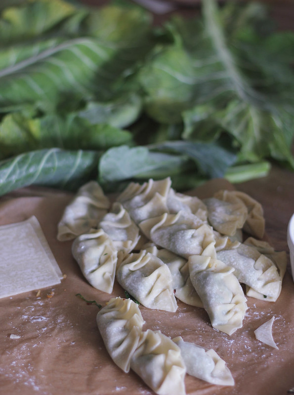 Collard Green PotStickers with Molasses Sesame Dip