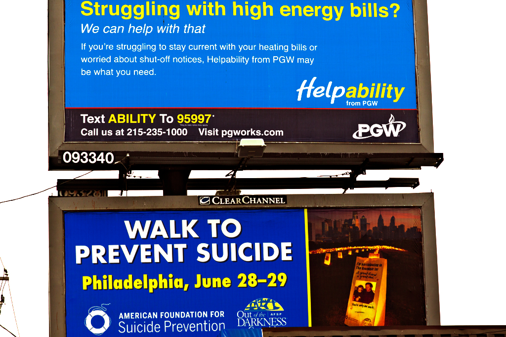 Struggling-with-high-energy-bills-and-WALK-TO-PREVENT-SUICIDE-billboards--Italian-Market