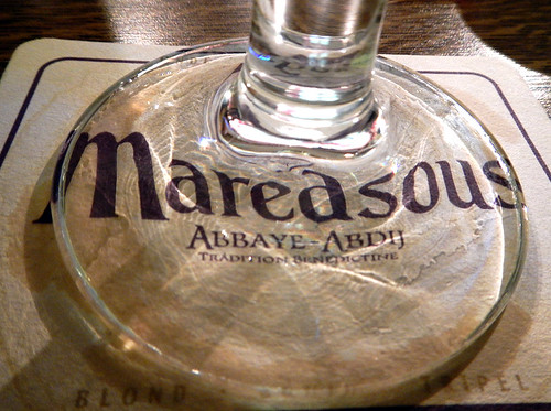 Maredsous beer on a Maredsous coaster, near Maredsous the Abbaye, Belgium