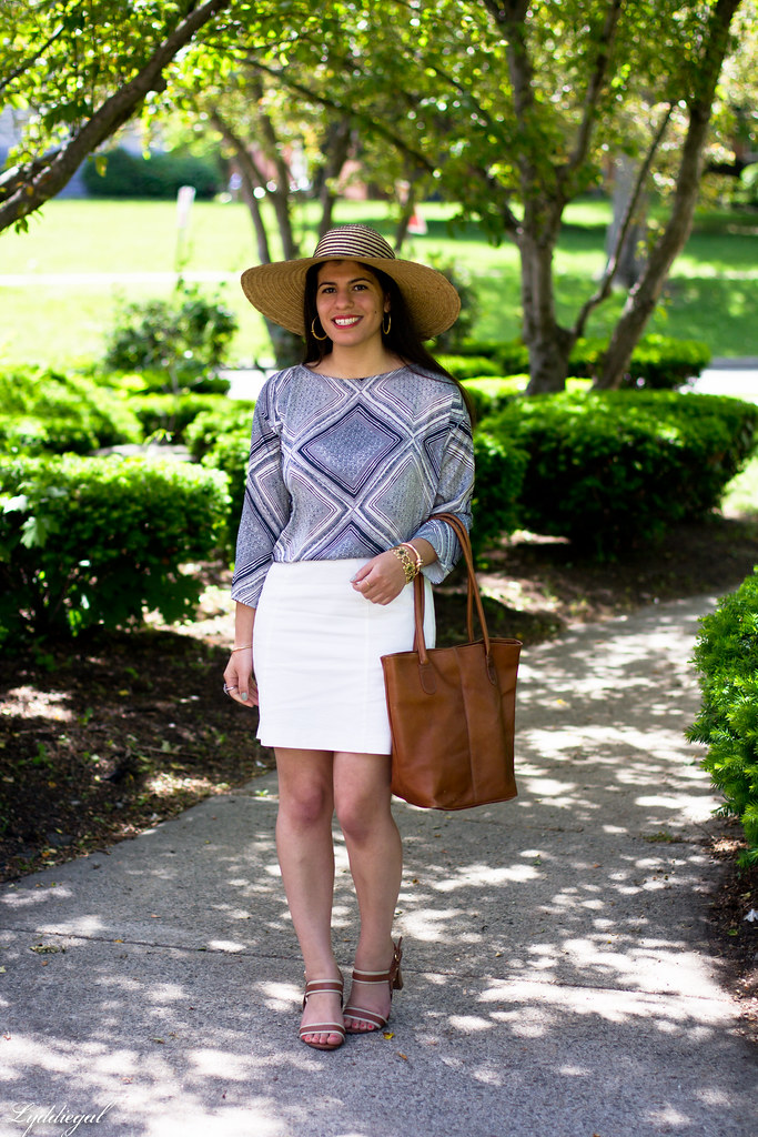 white pencil skirt, printed blouse, floppy hat-2.jpg