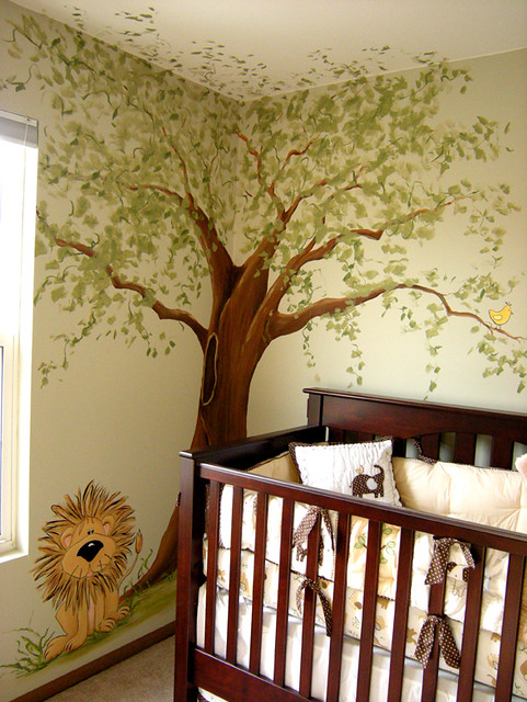 Jungle nursery mural whimsical tree cute lion flickr for Baby jungle safari wall mural