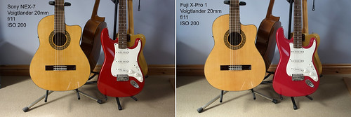 Comparison between Sony NEX-7 and Fuji X-Pro 1 - both fitted with Voigtlander 20mm f/3.5 lens