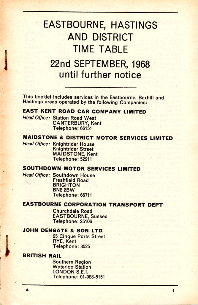List of Bus and Train Operators in Sept 1968 Timetable