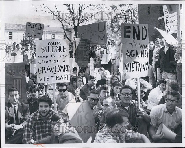 Oct. 16, 1965, news photo: antiwar and anti-protest demonstrations, together on the University of Michigan Diag.