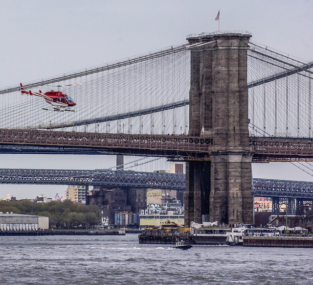 Brooklyn Staten Island Car: Helicopter And Brooklyn Bridge