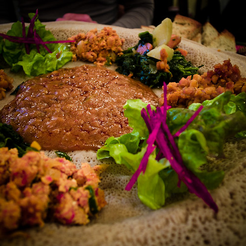 Ethiopian Feat with Stews and Injera