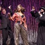 """The cast of """"Doubt"""" performs an exorcism on Kathleen Turner in """"Forbidden Broadway,"""" presented by the Huntington Theatre Company through at the Calderwood Pavilion at the Boston Center for the Arts. Part of the 2005-2006 season. Photo by Eric Antoniou."""
