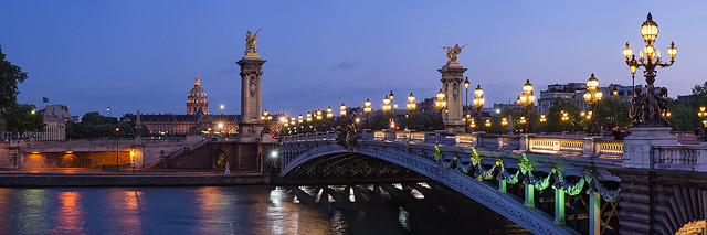 Pont Alexandre III at night, Paris, France