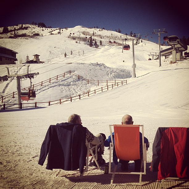 Sun tanning on the ski slopes at Canyons Resort