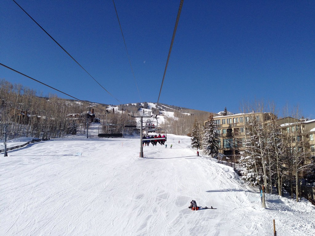 Taking the Village Express chairlift