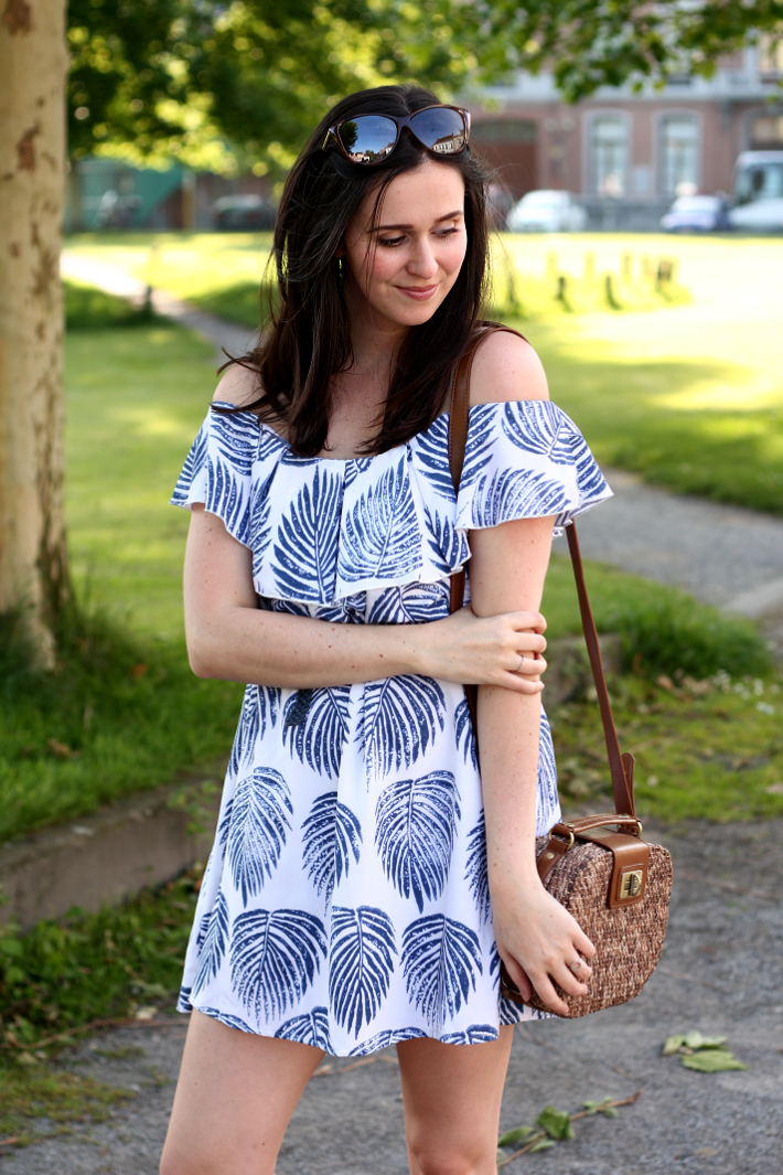 Leaf Print Off-the-shoulder Dress