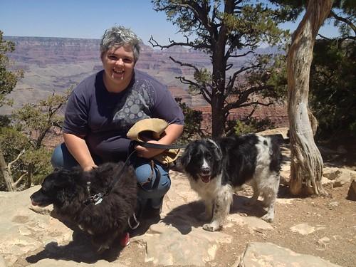 Dachary, Bandido, and Ben at the Grand Canyon