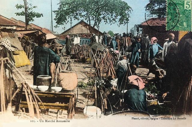 Un marché Annamite. Cầu Đường và Chợ cá trong Chợ Lớn