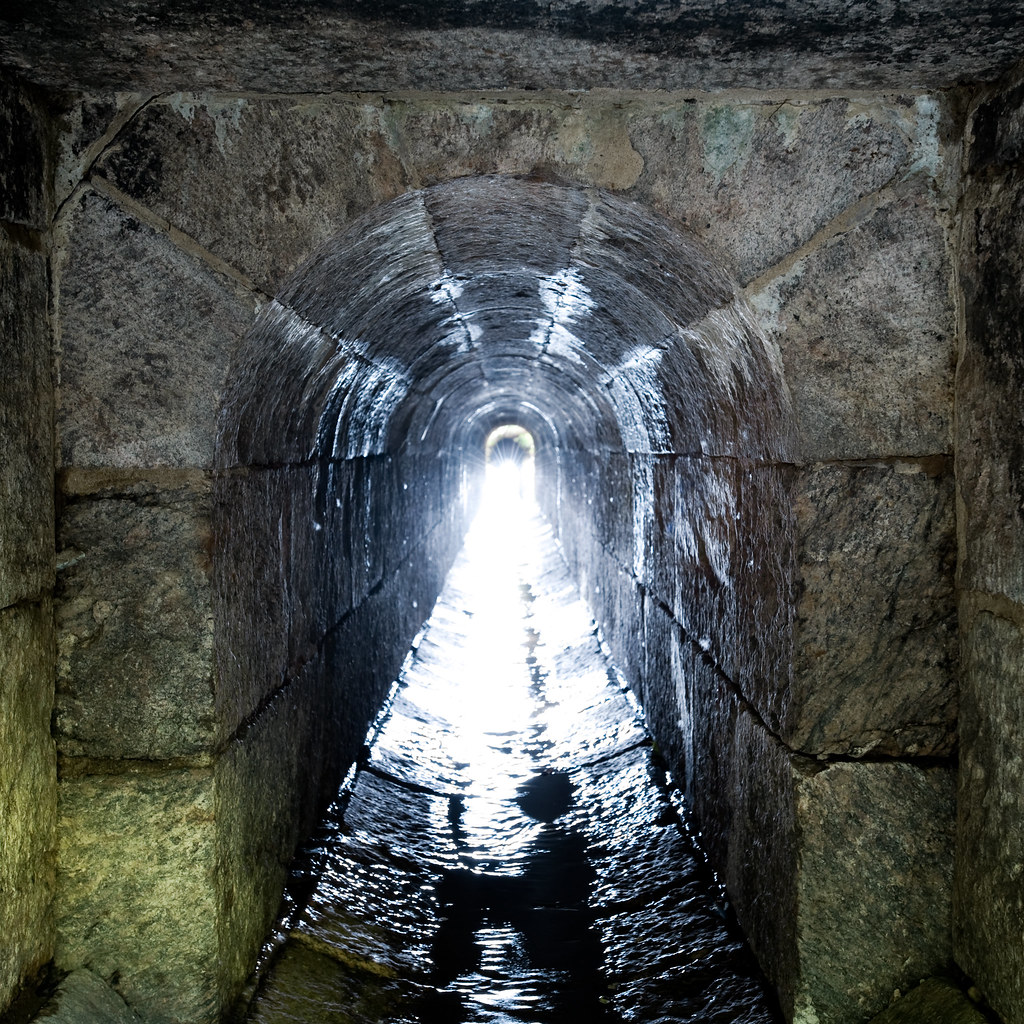 Stone block arched tunnel
