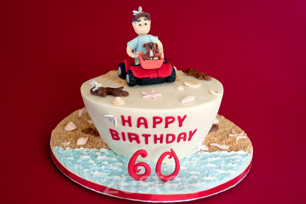 Dads 60th Beach Birthday Cake