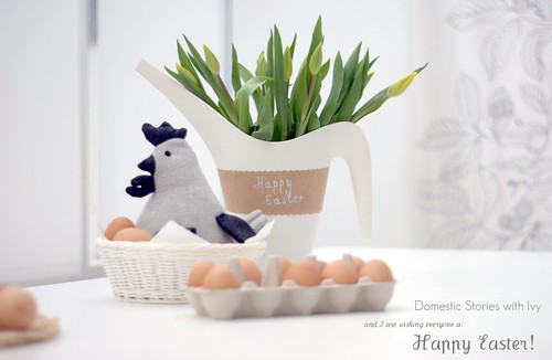 Happy Easter 2012 ~ ( chevron chicken, eggs & tulips )