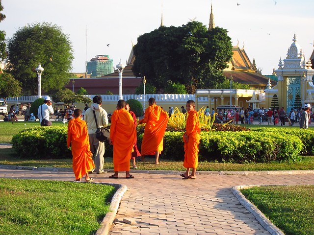 Novice Monks in One of the City's Many Green Spaces