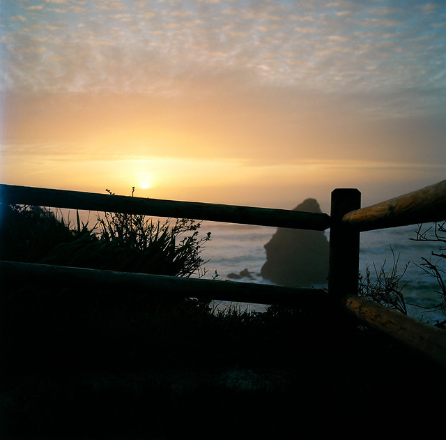 Sunset and fence fail, Otter Point, Andrew D. Barron©3/12