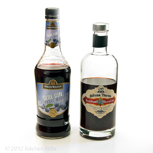 Bottles of Hiram Walker & Bitter Truth Sloe Gin