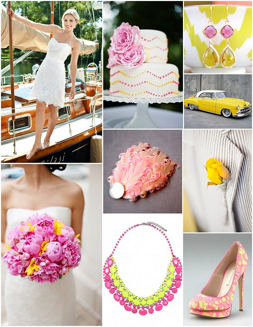 Lemon Yellow and Bright Pink Bridal Style Inspiration