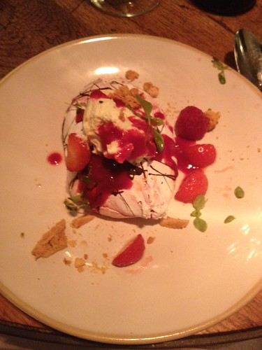 Fancy meringue dessert at Jamie Oliver's Italian