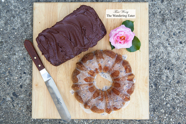 Homemade chocolate and blood orange and currant jam cake & lemon and lavender bundt cake