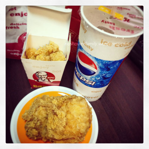 KFC chicken set, green tea,fried chicken