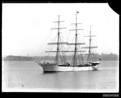 Three-masted ship MERSEY in Sydney Harbour