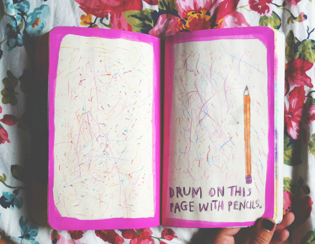 wreck this journal vivatramp drum on this page with pencils uk lifestyle book blog